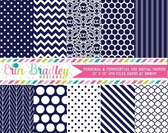 80% OFF SALE Navy Digital Paper Pack Polka Dots Damask Chevron and Striped Background Patterns Digital Scrapbooking