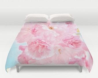 "Duvet Cover Made to Order ""Soft Blue Sky with Pink Peonies"" Decorative bedding, unique design, flower, petals, happy, bedroom, dorm bedding"