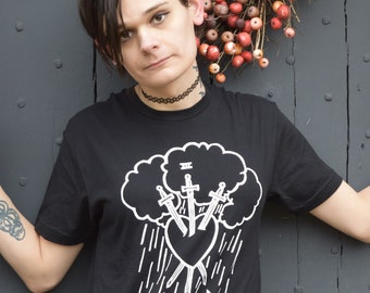 Three of Swords T-shirt — print from hand carved stamp