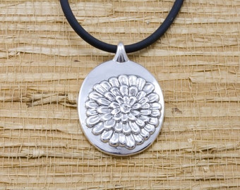 Silver Chrysanthemum pendant, sterling, rubber cord, November flower of the month, November birth month flower