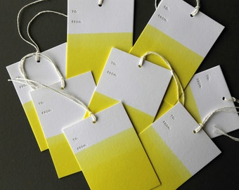 """Set of 8 YELLOW hand dip dyed and letterpress printed gift tags, 2.5 x 3.5"""" with twine"""