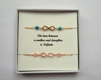 Mother Daughter gift, Two infinity gemstone bracelets, Rose gold infinity bracelet, Infinity bracelet, Infinity jewelry