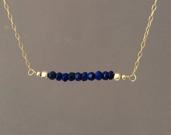 Straight Bar Blue Lapis Beaded Necklace Gold Rose Gold or Silver