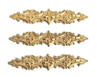Victorian Bracelet Bars, 3 Piece, Centerpieces, Vintage Supplies, Raw Brass,Victorian Style, Bracelets, B'sue Boutiques, 4 Inches, Item06825