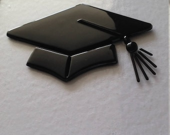 Fused glass picture Mortarboard.