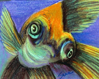 original art  aceo drawing orange goldfish google eye