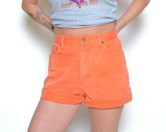 Vintage 90's Orange Express High Waisted Jean Shorts Sz 29W