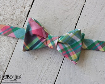 Green and Pink Plaid Bow Tie~Mens Self Tie Bow Tie~Mens PreTied~Anniversary Gift~Wedding Tie~HoBo Ties~Cotton Bow Tie~Mens Gift~Wedding~