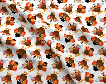 Thanksgiving Fabric - Thanksgiving Funny Gobble Gobble Turkey Face By Khaus - Thanksgiving Turkey Cotton Fabric By The Yard With Spoonflower