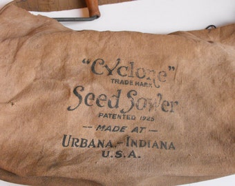 """Vtg """"Cyclone"""" Seed Sower w/Spinning Spreader Red Wheat Sower Urbana, IN Primative (Works)    (447)"""