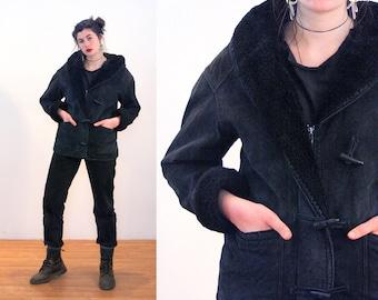 90s Black Suede Coat S, Fleece Lined Hooded Leather Vintage Parka Women's Heavy Winter Jacket, St John's Bay, Small