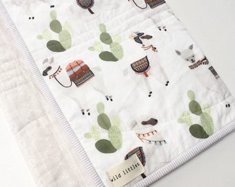 Modern Wholecloth Baby Quilt-Llamas Cactus Mudcloth Print-Baby Boy Quilt-Baby Girl Quilt-Baby Quilt for Sale-Baby Blanket-Toddler Quilt