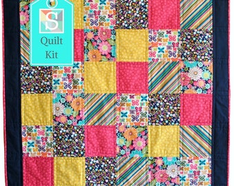 Quick and Easy/Beginner's Quilt Kit in Michael Miller's Sweet Emma - Easy Quilt, Baby Quilt, Craft Kit
