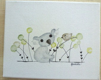 "Small canvas ""koala and bird"""