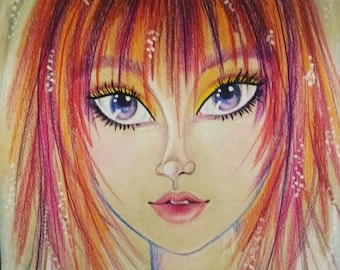 Original Art -Magenta- Fantasy Face -Woman's Portrait -Leslie Mehl Art