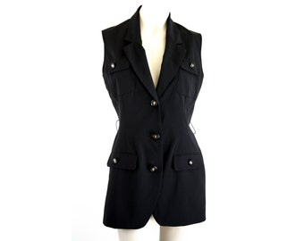 Unlimited Fashion By Isaac New York Polyester Long Style Vintage Black Woman's Vest