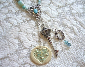 Key To My Heart Silver Brass And Ceramic Beaded Necklace