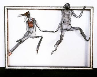 Rock mountain Climbing man Wall hanging Wire mesh sculpture Metal art Boyfriend Gift Together forever Couple in love Silver Copper Gold 3D