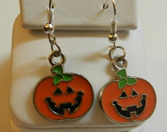 Silver Pumpkin Halloween Jack O Lantern Earrings V4077