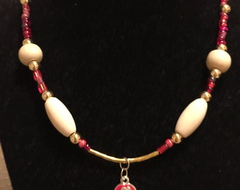 Red Hot Flip Flop Charmed Necklace, with Natural Wood Beads and Gold Accents