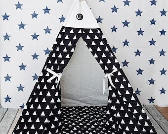 White Triangle on Black  Teepee, Play Tent, Kids Teepee, Teepee Tent, Tipi, Playhouse, Canvas, Canvas Teepee, children teepee