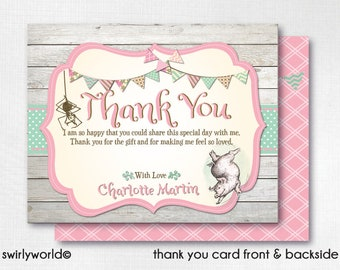 Charlotte's Web Thank You Cards, Charlotte's Web Theme Party, Printed Charlotte's Web Thank You Cards, Baby Shower Thank You Notes DI-3020
