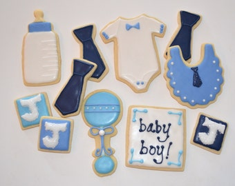BABY THEME assorted decorated cookies. Bottle, rattle, onesie, tie, baby, boy. Navy, sky, bright blue. Your choice of color & details.
