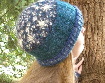 Starry Sky Fair Isle Knitted Cap ooak