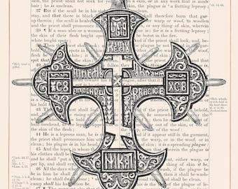 Vintage Cross on 1883 Bible Paper