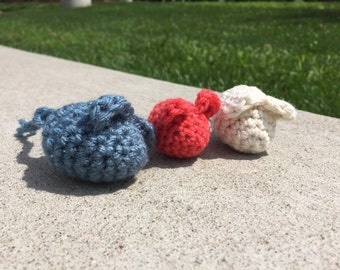 Set of 3 Mouse Cat Toys in Various Colors
