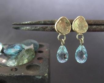 14K yellow gold Aquamarine earrings.Unique handmade earrings. Free shipping