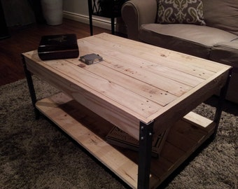 The Horizontal with Shelf - Distressed  Pine Wood with Nail Heads Coffee Table
