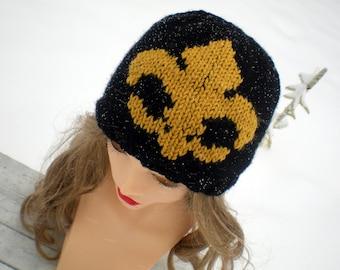 Fleur-de-Lis Beanie Hat - Hand-knit New Orleans Saints Black & Gold