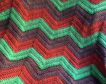 new chevron zig zag ripple baby toddler blanket afghan wrap crochet knit wheelchair stripes VANNA WHITE yarn adult lap fall leaves autumn