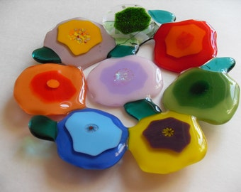 2 Contemporary blooms glass fused colorful coasters. CUSTOM ORDER for TEEJAY