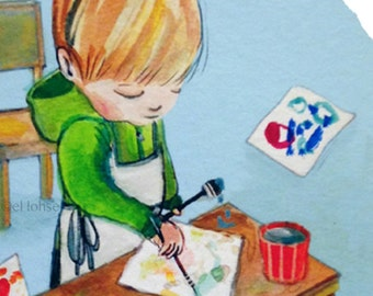 little artist ... giclee art print • various size options • child • art • childhood • boy • painting • illustration • portrait • watercolor