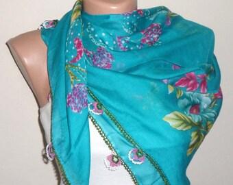 blue scarf cotton scarf turkish scarf trendy fashion floral print scarf womens scarves shawls
