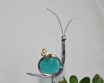 Stained Glass Teal Blue Snail Plant Stake, Garden Art, ShellysGlassStudio