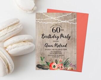 ANY AGE Bohemian Birthday Party Invitation Printable Boho Birthday Invitation Woman's Birthday Party Invite Milestone Birthday String Lights