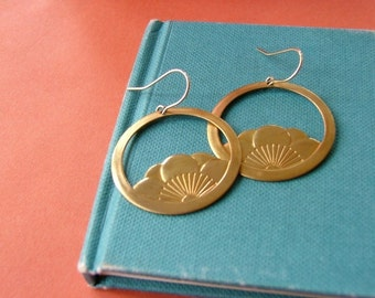 Yoga jewelry Large lotus dangles Brass gold sunrise earrings 14K gold fill ear wires Gift for yogi Big gold hoops Lotus flower dangles