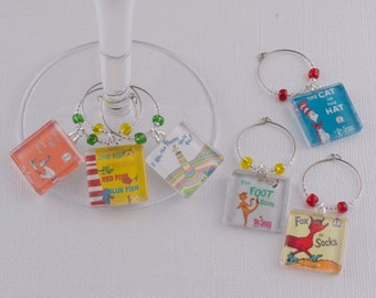Dr Seuss Wine Charms (Set of 6): Cat in the Hat, Green Eggs and Ham, Oh The Places You'll Go, Fox In Socks, 1 Fish 2 Fish, The Foot Book