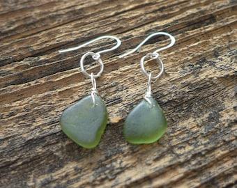 Olive Green Sea Glass Earrings