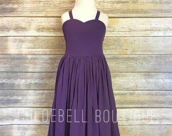 Midi Purple flower girl dress - Plum flower girl dress - Plum - Midi chiffon dress - Long chiffon toddler dress - Full skirt flower girl dre