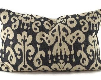 Black & Beige Ikat Print Lumbar Pillow Cover, Black Ikat Throw Pillow Cover, 14x22