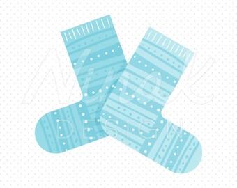 BLUE KNITTED SOCKS Clipart Illustration - 0044