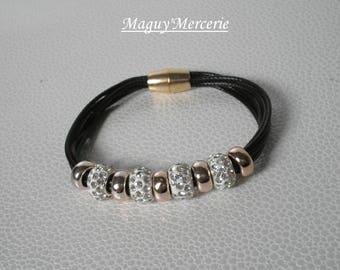 Bracelet beads rhinestone and black cord