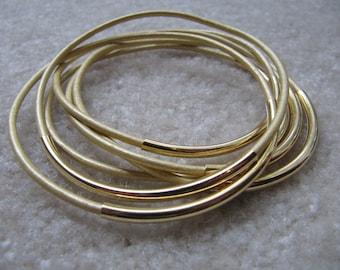 Metallic Gold Leather Bangles - Set of 6