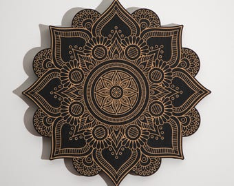 Floral Mandala Geometric Laser Engraved Wood Wall Art