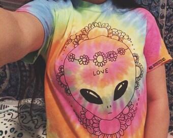 Tie Dye Hippie Alien T-Shirt
