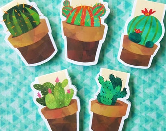 Watercolor Cactus Magnetic Bookmark Set